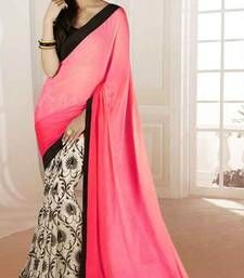 Buy Pink and Beige printed jacquard saree with blouse jacquard-saree online