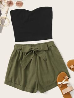 Shein Solid Tube Top & Belted Shorts Set Multicolor Casual Sleeveless Fabric has some stretch Summer Two-piece Outfits, size features are:Sleeve Length : Sleeveless, Teenage Outfits, Cute Teen Outfits, Cute Comfy Outfits, Teen Fashion Outfits, Cute Fashion, Pretty Outfits, Stylish Outfits, Cool Outfits, Fashion Styles