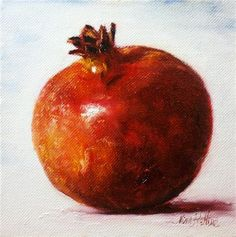 """""""Red Pomegranate Oil on canvas panel 6x6 inches"""" - Original Fine Art for Sale - © Nina R. Aide"""