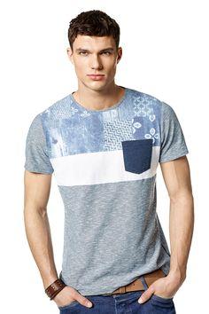 T-shirt de manga curta e bolso frontal | 114851 Azul Marinho | Salsa