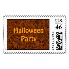 Black Orange Faux Lace Postage Stamps