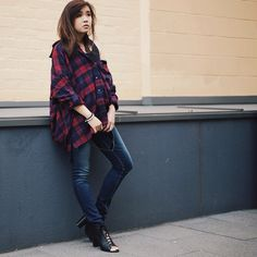 Shauna from Silhouettes of Chic in the Get Down Button Up #flannel #oversized || Get the shirt: http://www.nastygal.com/product/get-down-button-up?utm_source=pinterest&utm_medium=smm&utm_term=ngdib&utm_content=nasty_gals_do_it_better&utm_campaign=pinterest_nastygal