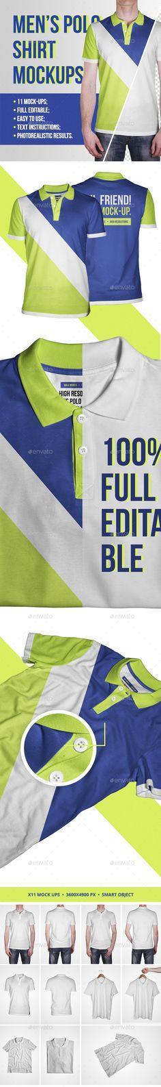 Men's Polo Shirt #Mockups - #T-shirts Apparel Download here:  https://graphicriver.net/item/mens-polo-shirt-mockups/20035312?ref=alena994