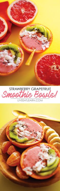 If you love sitting down for a healthy breakfast but don't love spending anymore than 5 minutes in the kitchen, smoothie bowls are right up your alley. This Strawberry Grapefruit Smoothie Bowl recipe is packed with fruit and is perfect for a weekend breakfast. // Live Eat Learn Smoothie Breakfast, Breakfast Bowls, Smoothie Bowl, Detox Breakfast, Breakfast Fruit, Protein Breakfast, Healthy Breakfast Recipes, Brunch Recipes, Healthy Recipes