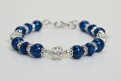 Royal Blue Bracelet with Rhinestones Bridal Crystal by Eienblue, $13.50