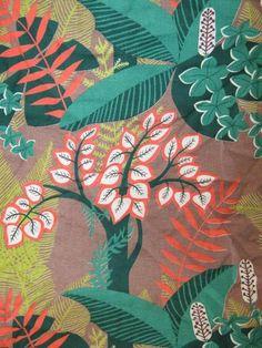 Vintage Barkcloth with Tropical Leaf Print.