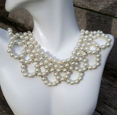 Pearl Necklace, Beadwork Necklace, Bead Necklace Pearl, Bridal Jewelry, Bridal Necklace, Wedding Necklace, Gift for Her, Ivory Pearls