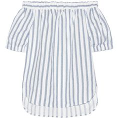 MICHAEL Michael Kors Off-the-shoulder striped linen top ($115) ❤ liked on Polyvore featuring tops, michael kors, white, loose fitting tops, stripe top, white off shoulder top, white tops and white off the shoulder top