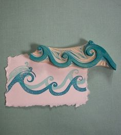 "Ocean Waves Rubber Stamp Hand Carved by Jessica at ""Enchanting Stamps"" Etsy store"