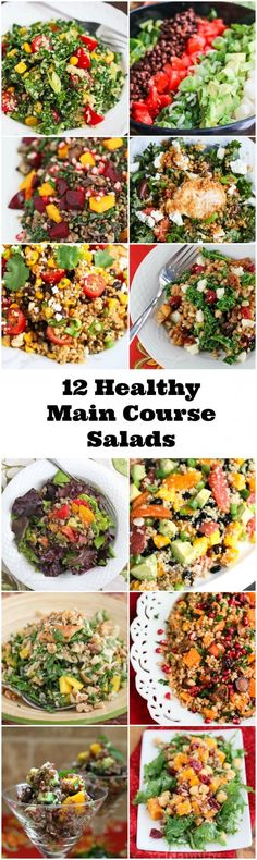 12 Healthy Main Course Salads - Start off the New Year with these healthy and delicious salads, packed with whole grains and lots of veggies