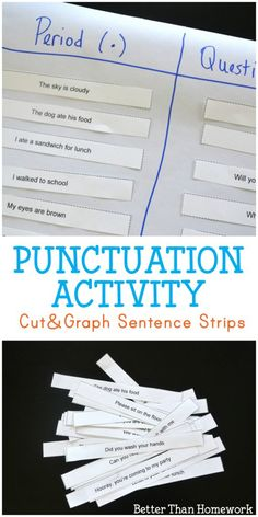 Practice end punctuation with this simple, printable punctuation game. Cut out the sentence strips and add them to the punctuation graph. Punctuation Activities, Teaching Punctuation, Grammar Practice, Spelling Activities, Writing Activities, Writing Centers, Kindergarten Writing, Writing Resources, Teaching Reading
