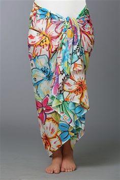 6e351d9153 Bright Hawaiian print sarong wrap in soft cotton. Wear it long or as a dress