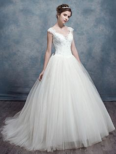 e6c110a13b08 Ericdress Fancy V Neck Sheer Back Wedding Dress Cheap Lace Wedding Dresses