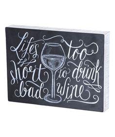 'Bad Wine' Chalkboard Box Sign #zulily #zulilyfinds