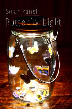 This is just such a lovely craft idea. It makes use of solar Jars – or – Solar Jar Lids that you can buy to fit almost any… Recycling For Kids, Diy For Kids, Crafts For Kids, Glass Jars, Candle Jars, Solar Panel Project, Matchbox Crafts, Butterfly Lighting, Jam Jar