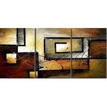 Abstracto Triptico Decorativo Con Textura