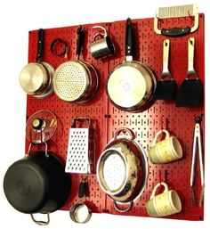 Wall Control Kitchen Pegboard Organizer Pots and Pans Pegboard Pack Storage and Organization Kit with Red Pegboard and Red Accessories by Wall Control, http://www.wallcontrol.com/kitchen-pegboard-organizer-kit-pots-pans-rack-red-pegboard-red-hooks/