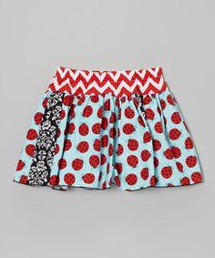 Aqua Ladybugs Skirt - Toddler & Girls by Million Polkadots #zulily #zulilyfinds