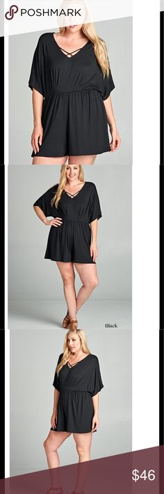 Super cute solid romper with cross front detail Sexy, cute and comfy! Solid black romper is the perfect length and with deep v, cross front and half sleeve details it's incredibly flattering on every shape and size. Rayon and spandex, made in the USA Pants Jumpsuits & Rompers