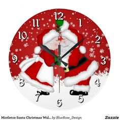 Shop Mistletoe Santa Christmas Wall Clock created by BlueRose_Design. Christmas Items, Santa Christmas, Christmas Ornaments, Christmas Decorations, Holiday Decor, Mistletoe, Wall Clocks, Wallpaper S, Wall Murals