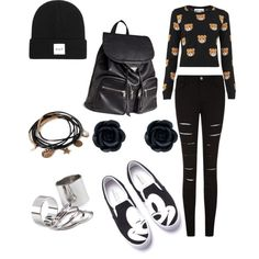 A fashion look from March 2015 featuring Moschino sweaters, H&M backpacks and Forever 21 bracelets. Browse and shop related looks.