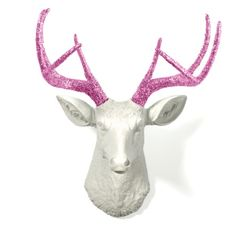 Fuchsia #Glitter #Antlers with White #Stag #Deer Head Faux #Taxidermy #Woodland #Rustic #Home #Decor #HomeDecor #Zazzle