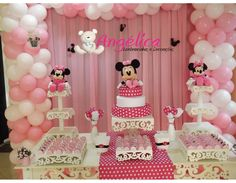 Party tablecloths - Tips Minnie Mouse Baby Shower, Minnie Mouse Party, Minnie Mouse Decorations, Birthday Decorations, Minnie Mouse Birthday Outfit, Pink Minnie, Baby Girl Birthday, Birthday Parties, Birthday Ideas