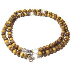 Be Amazing - Mala Rosary - Olive Wood with Crystal Quartz Accent Stones and Optional Charm | Edgy Soul