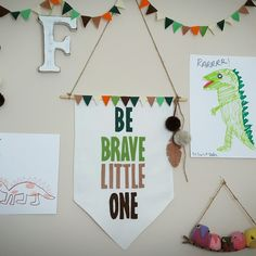 Be Brave Banner! Fun room decor for your little adventurers. Large pennant banner wall hanging with hand cut felt letters, hand stitched onto thick white cotton, complete with fun woodland bunting, pom poms and felt feathers!