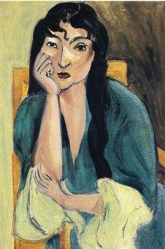 Henri Matisse - Laurette in Green, 1916-1917. #matisse #modernism #modernart #portrait #blue #fashion #style #faces #portraiture