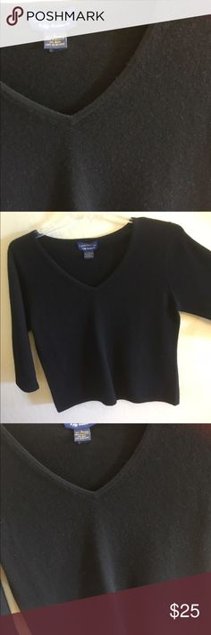 Classic Charter Club Cashmere Sweater Black V Neck. 3/4 Sleeve. Like new condition, soft, warm Cashmere. Charter Club Sweaters V-Necks