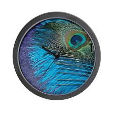 Purple and Teal Peacock Wall Clock