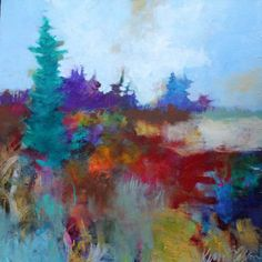 "Acrylic Abstract Landscape Painting on Canvas, Colorful, Original, Modern, ""Afternoon at the Clear Cut"" 20x20"