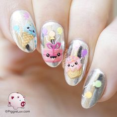 This nail art is soooo over the top happy!
