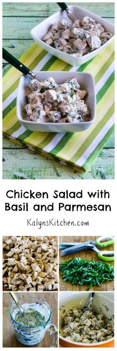In the summer when fresh garden basil is abundant, I love to make this Chicken Salad with Basil and Parmesan.  You can use leftover grilled or rotisserie chicken, or cook some chicken just for the salad, but this will be a hit at a holiday get-together or summer pot-luck.  #LowCarb #GlutenFree #SummerFood [from KalynsKitchen.com]