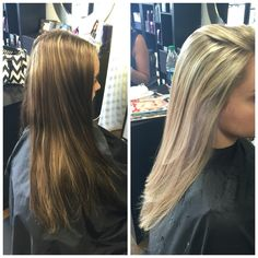Before and after I did for a corrective color. From a blotchy brown to a beautiful soft blonde.