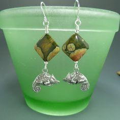 Handmade Earrings   Chameleon  Rainforest Jasper by Hyacinthsbyme, $12.00