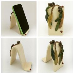My very first mobile phone holder! Featuring sculpted gumnuts leaves and ladybugs by hopnfrogpottery