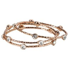 Bangle Braclet Set With Stones - Rose Gold