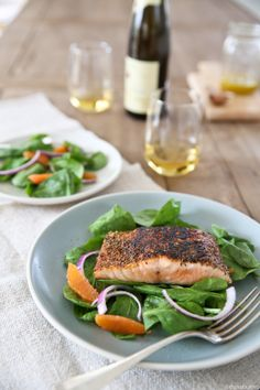 Bueno's Making Blackened Salmon Blackened Salmon with Citrus Vinaigrette dressed Spinach 211196	 by b