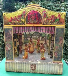 Large wooden Antique German Toy Theatre or earlier German Toys, Toy Theatre, Classic Toys, Gazebo, Outdoor Structures, Dolls, Antiques, Vintage, Baby Dolls