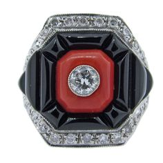 1stdibs | Bold Deco StyleOnyx Coral and Diamond Ring