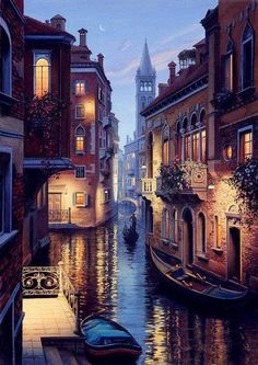 Channels in Venice at dusk, Italy.