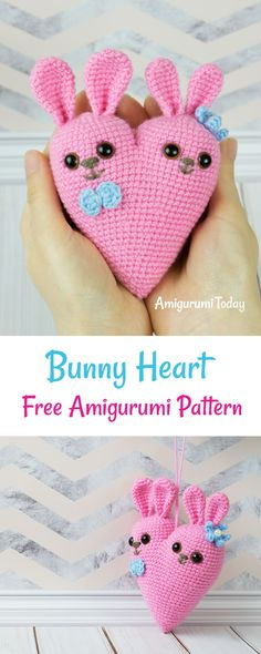 Crochet Rabbit Surprise your sweetheart with unforgettable gift - cute bunny heart amigurumi crocheted with all your love and care! Unique Crochet, Cute Crochet, Beautiful Crochet, Beautiful Dolls, Crochet Gifts, Crochet Toys, Crochet Pouch, Easy Crochet Projects, Crochet Ideas