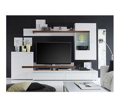 Jumbo Möbel Wohnwand Piano Weiß / Virginia Walnuss mit TV-Aufsatz