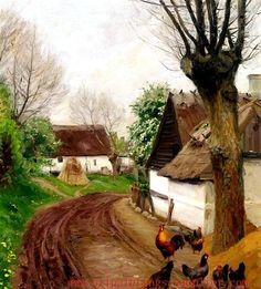 View Fowls under a tree near a whitewashed cottage By Hans AndersenBrendekilde; Access more artwork lots and estimated & realized auction prices on MutualArt. Chickens And Roosters, Beautiful Paintings, Old Pictures, Landscape Art, Old Houses, Oil On Canvas, Cool Art, Cottage, Fine Art