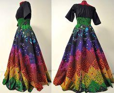 Chakra Fire - Elegant Handmade African Maxi Dress,  Long Maxi Patchwork Chakra Dress, Barefoot Modiste Handmade