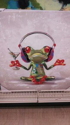 Martini Frog Images Pop Art, Chalkboard Art Quotes, Tableau Pop Art, Pop Art Decor, Frog Drawing, Frog Art, Collaborative Art, Watercolor Animals, Animal Paintings