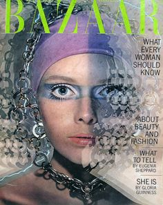 Stephanie Farrow (sister of Mia) on the cover of Harper's Bazaar, October 1969. Photo by Hiro.