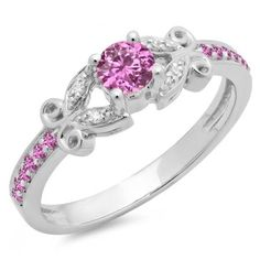 Share for $20 off your purchase of $100 or more! 0.50 Carat (ctw) 14K White Gold Round Pink Sapphire & White Diamond Ladies Bridal Unique Vintage Style Engagement Ring 1/2 CT - Dazzling Rock #https://www.pinterest.com/dazzlingrock/